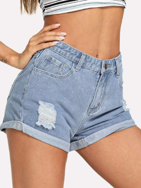Eva Cuffed Hem Ripped Denim Shorts