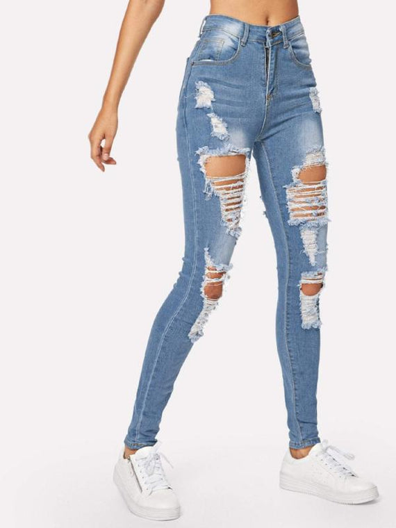 Xenia Light Blue Ripped Bleach Wash Skinny Jeans
