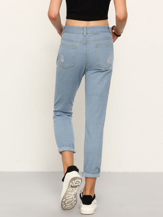 Cordelia Blue High Waist Ripped Denim Pant