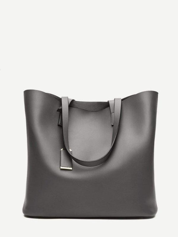 Metallic Grey Tote Bag With Inner Pouch