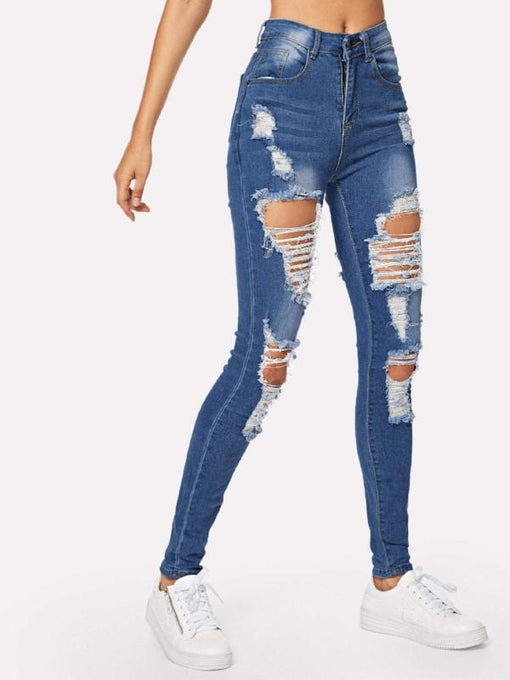 Xenia Blue Ripped Bleach Wash Skinny Jeans