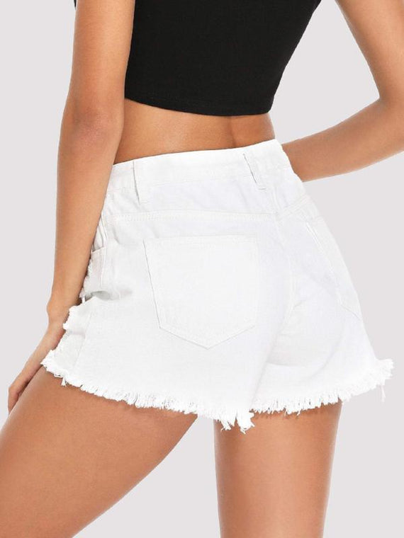 Hazel White Ripped Hem Denim Shorts