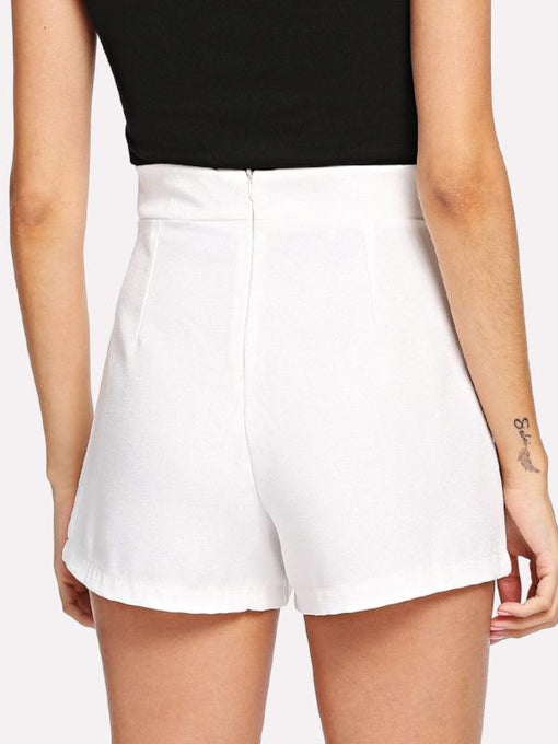 Esther White Bow Waist Shorts