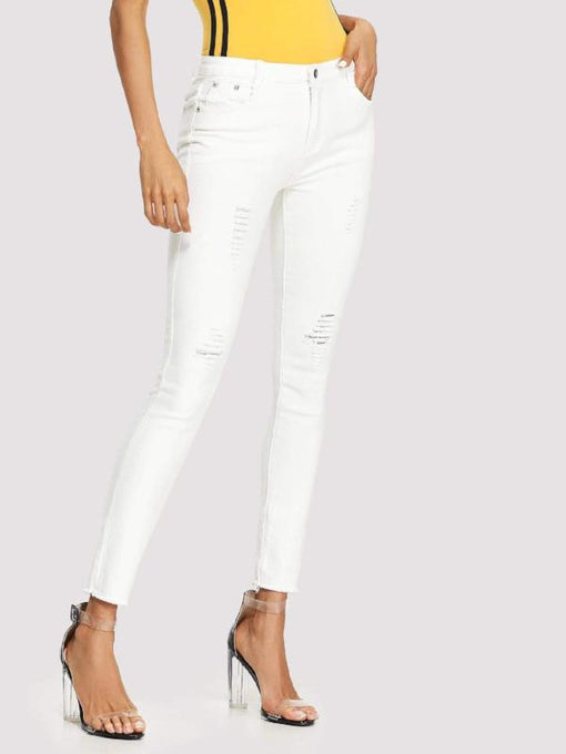 Victoria White Ripped Skinny Jeans