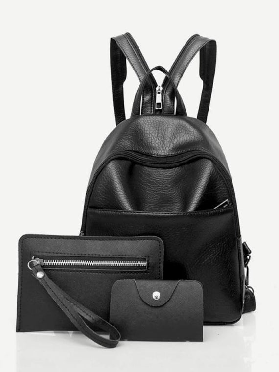 Faux Leather Backpack Set