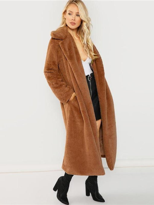 Catalina Brown Long-line Fur Coat