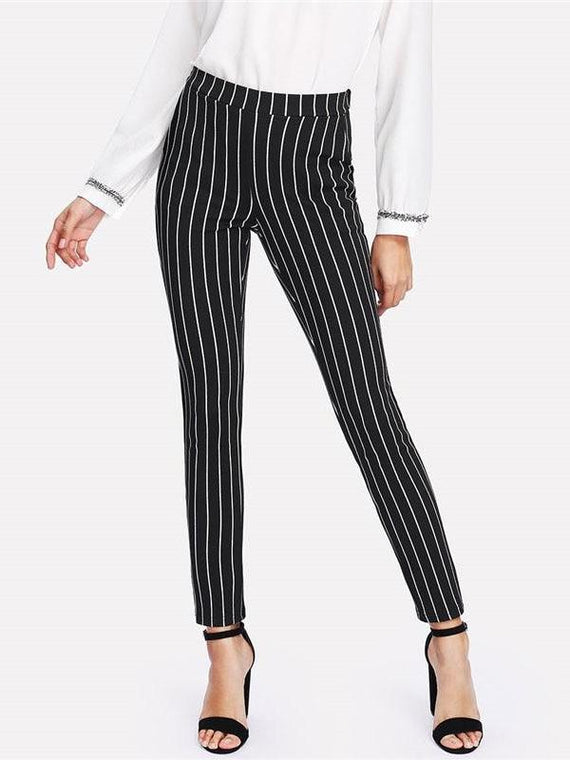 Elmer Black Vertical Striped Skinny Pants