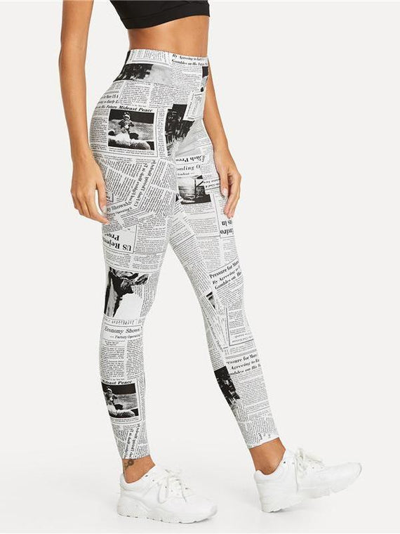 Abigail Newspaper Leggings