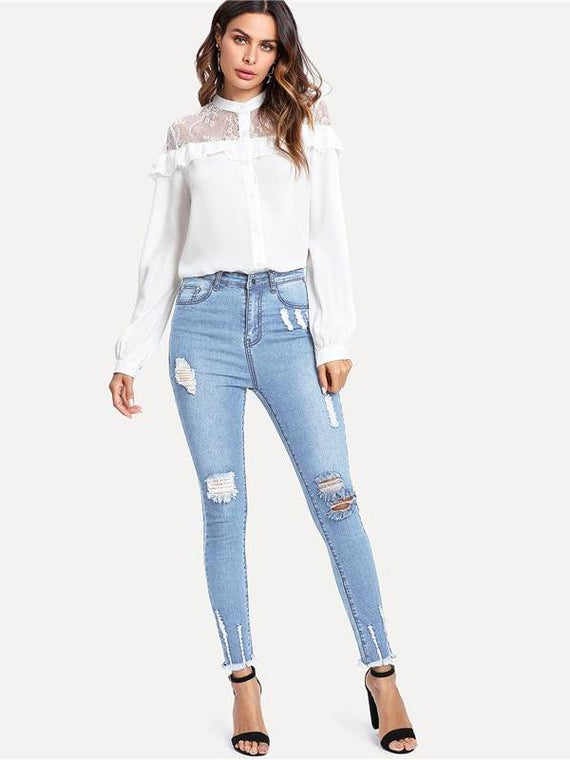 Whitney Frayed Hem Ripped Jeans