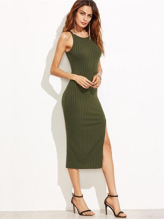 Lucia Green Side Slit Dress