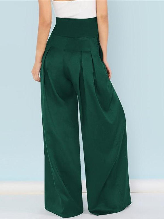 Aubrielle Green Pleated Palazzo Pants