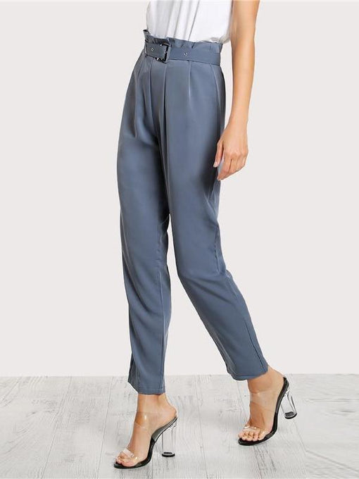 Gwen Blue Pleated Tailored Pants