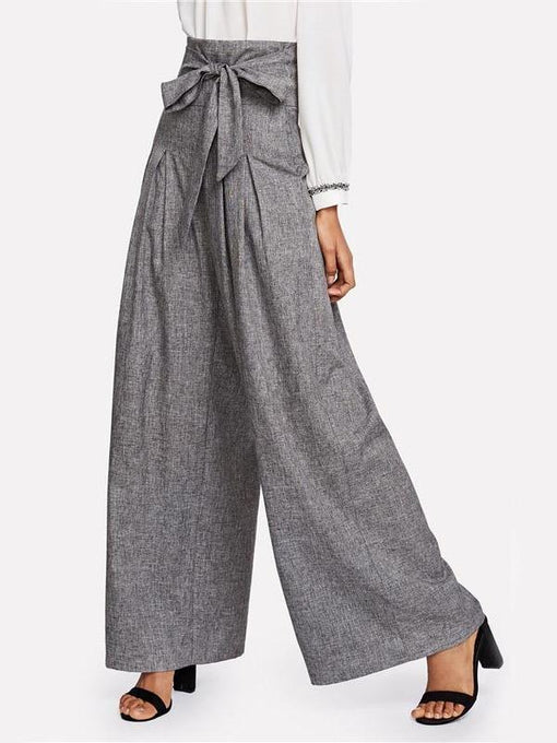 Aubrielle Grey Pleated Palazzo Pants