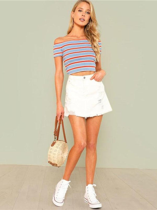 Jazlyn Striped Off-Shoulder Top