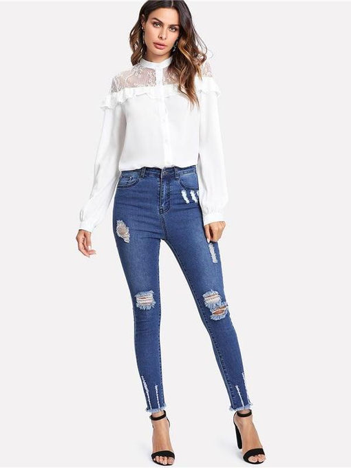 Corinne Ripped Denim Jeans