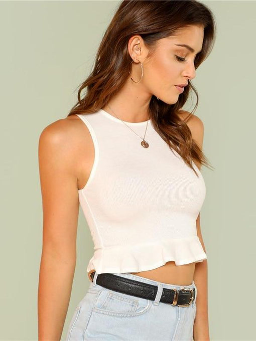 Lainey Ruffle Hem Crop Top