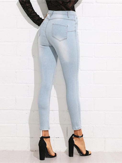 Isabela Bleach Wash Ripped Denim Jeans