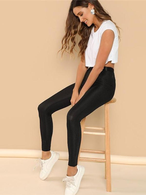 Emmie Waistband Rib Knit Leggings