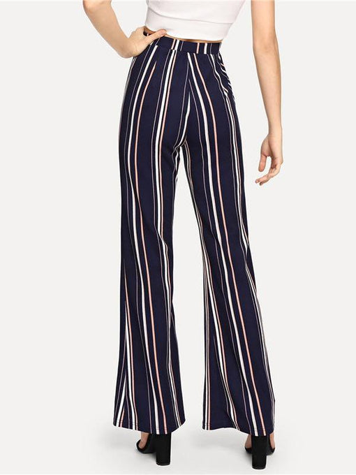 Brittany Navy Striped Flare Pants