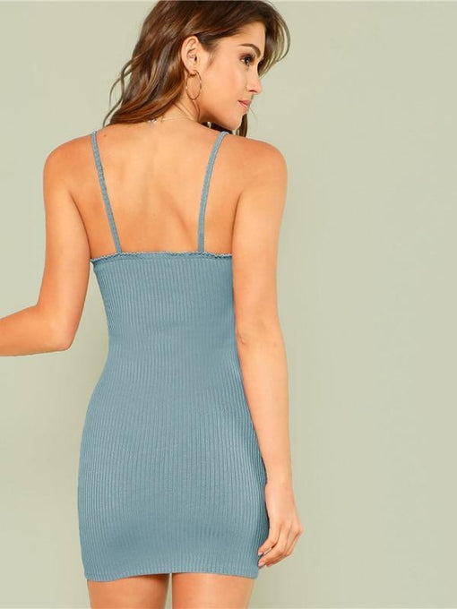 Lauren Blue Button Bodycon Dress