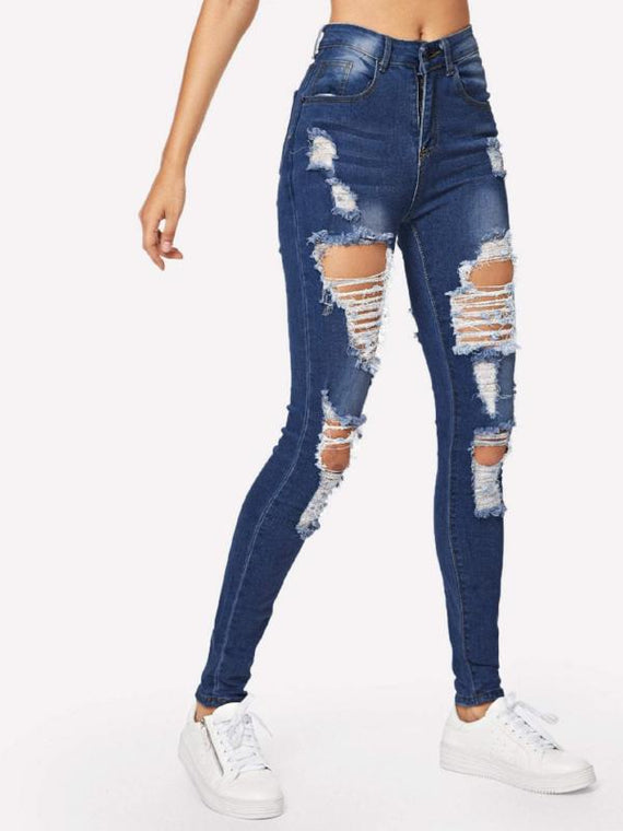 Xenia Dark Blue Ripped Bleach Wash Skinny Jeans