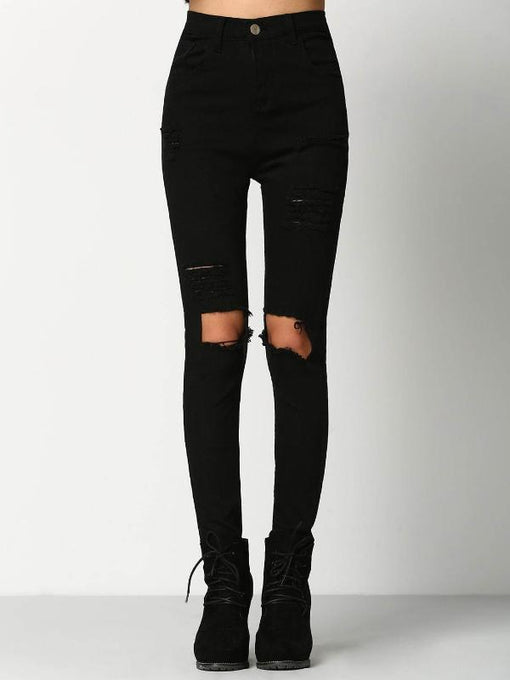 Yasmin Black Cut Out Knee Ripped Jeans