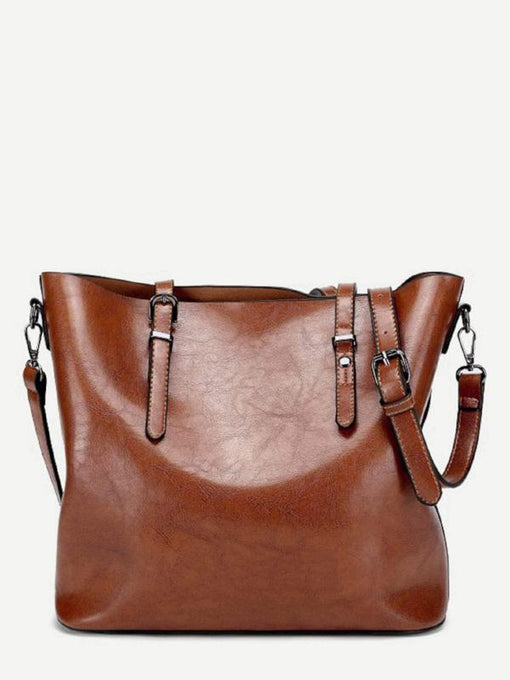 Brown Buckle Decor Tote Bag