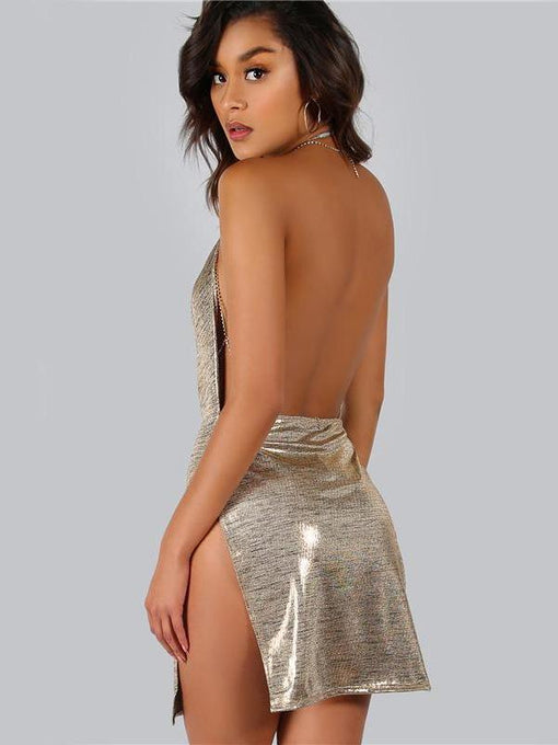 Zaria Gold Backless Metallic Slit Party Dress