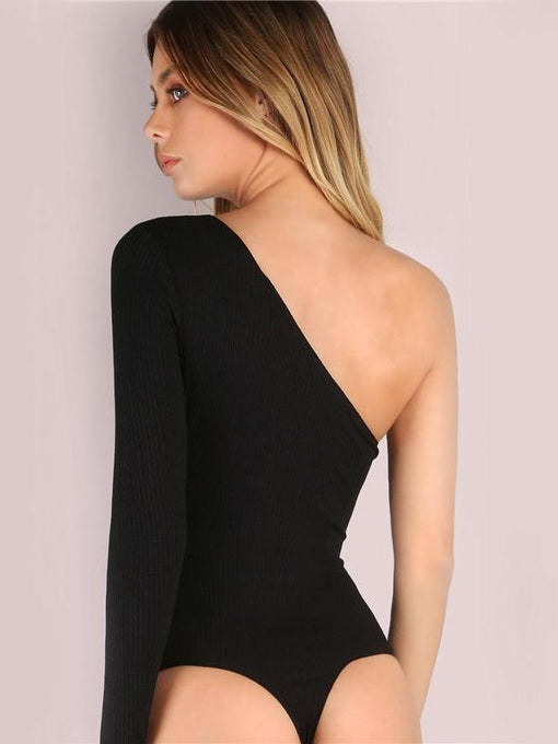 Bonnie Black Basic One Shoulder Bodysuit