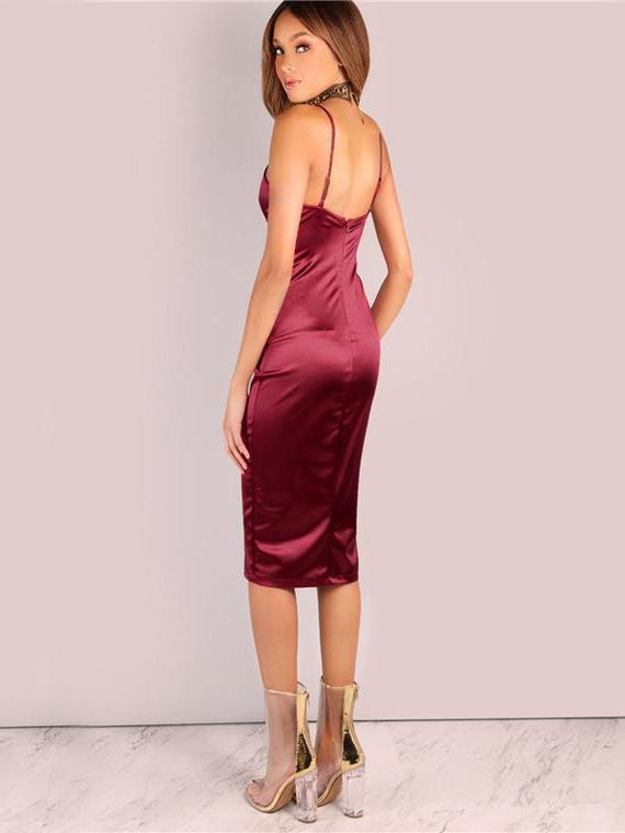 Lennox Burgundy Satin Party Club Slip Dress