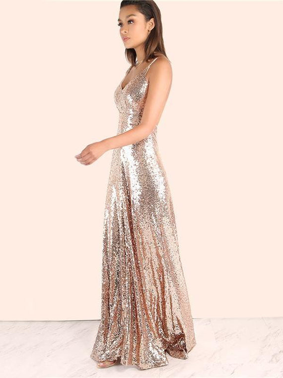 Adele Rose Gold Backless Sequin Maxi Dress