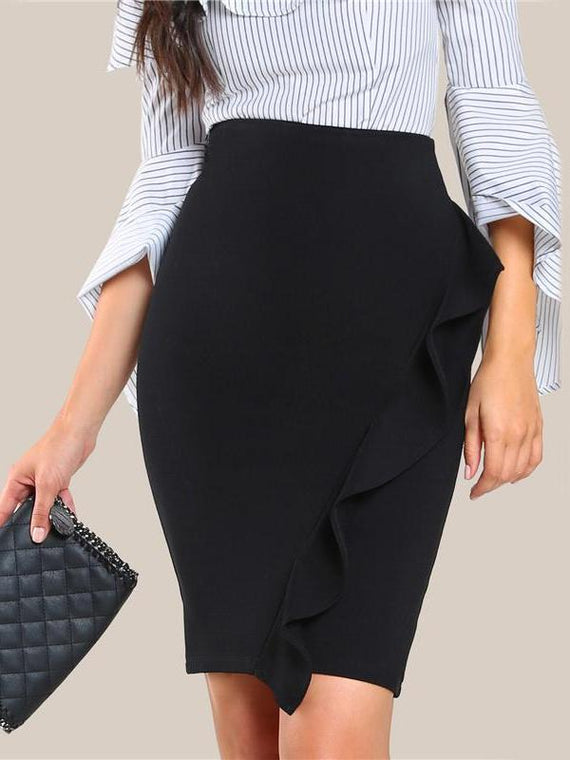 Valda Black High Waist Ruffle Pencil Skirt