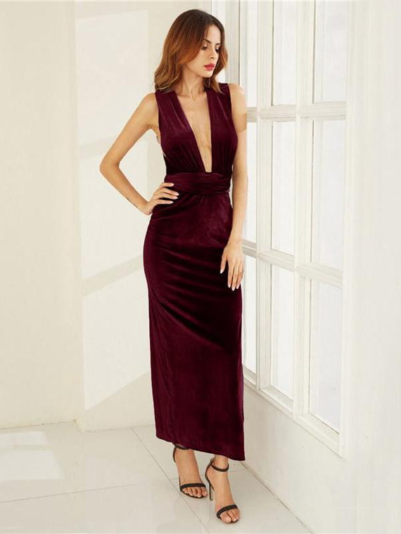 Eloise Wine Red High Slit Velvet Convertible Dress