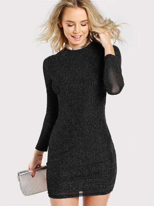 Natasha Glitter Black Bodycon Dress
