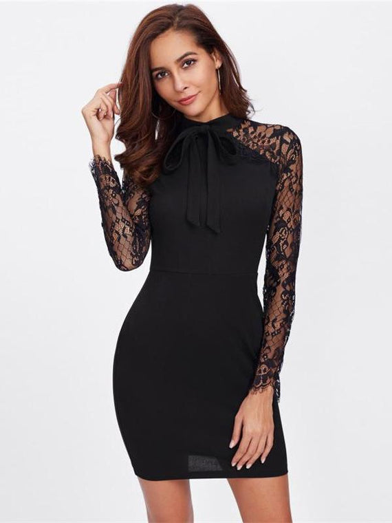Emmy Front Bow Tie Floral Lace Sleeve Dress