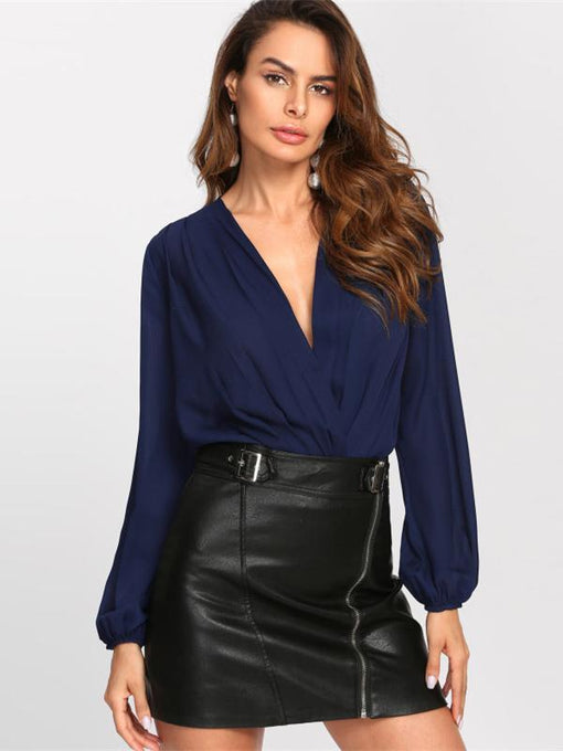 Veronica Navy Blue Pleated Wrap Blouse Bodysuit