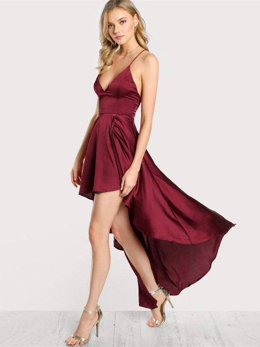Gabriella Maroon Crisscross Backless Cami Dress