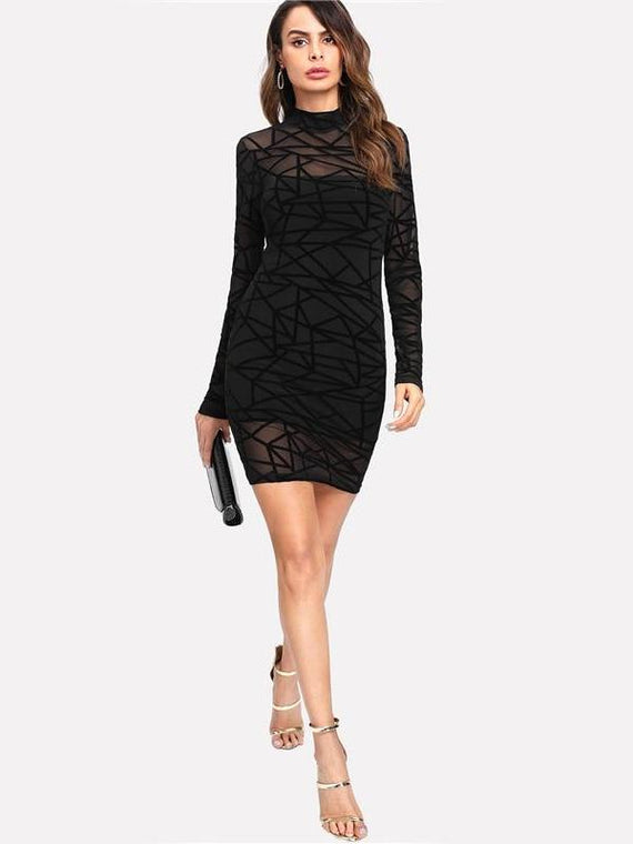Lacey Black Mesh Overlay Bodycon Dress