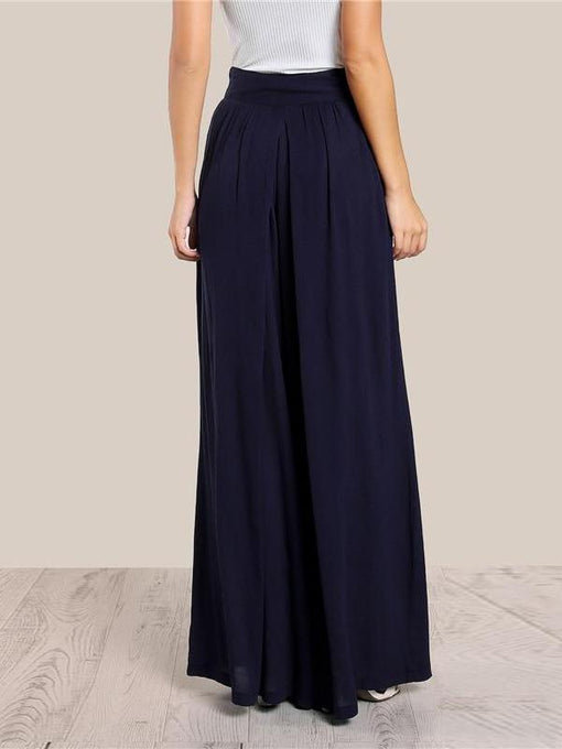Esmeralda Navy Blue High Waist Wide Leg Pants