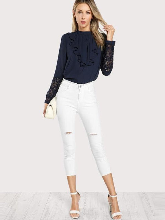 Darcie Navy Blue Ruffle Blouse