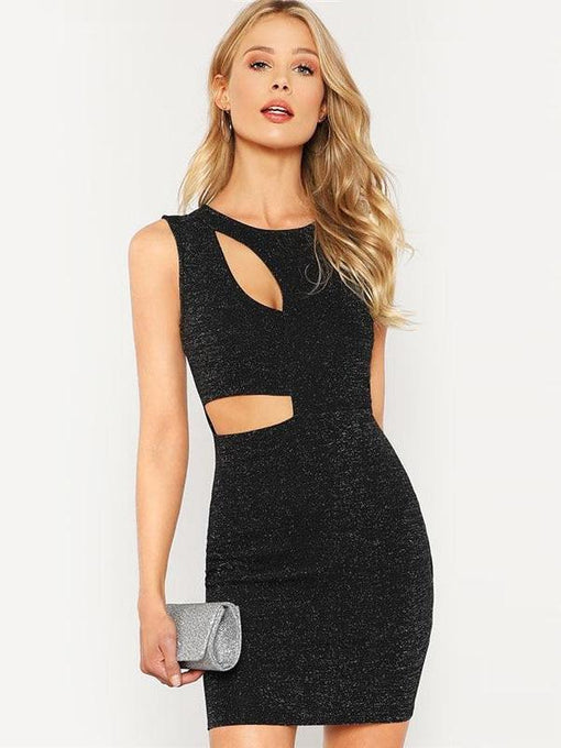 Fernanda Black Cut Out Glitter Dress