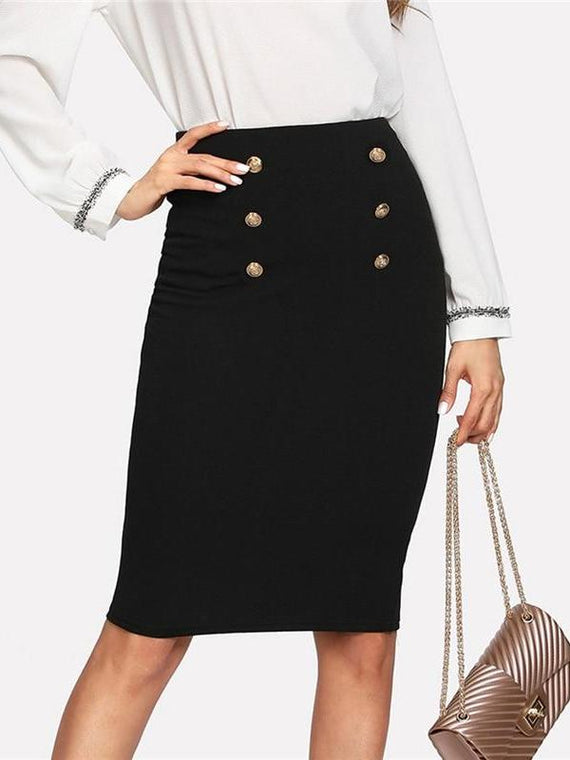 Adriana Black Double Button Knee Length Pencil Skirt