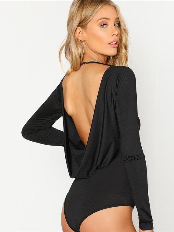 Emory Black Backless Long Sleeve Bodysuit