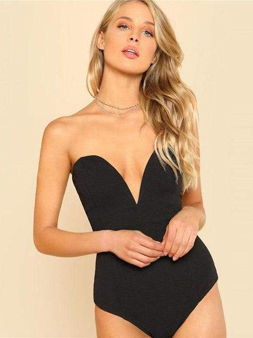 Aubrie Black Deep V Neck Bodysuit