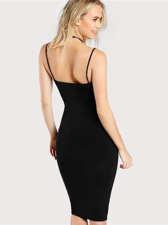 Thyra Black Solid Cami Bodycon Dress
