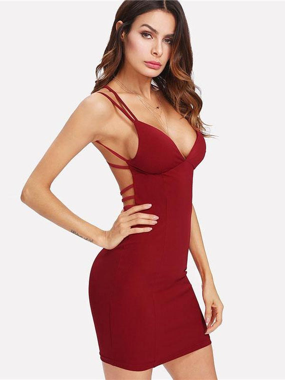 Skyla Burgundy Strappy Backless Fitted Bodycon Dress