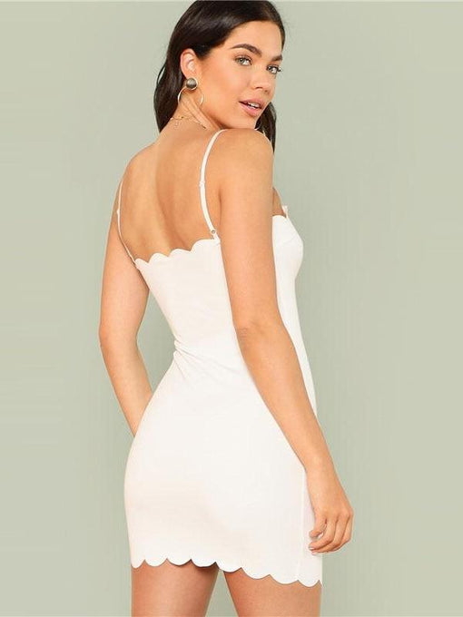 Reyna Scalloped Mini White Dress