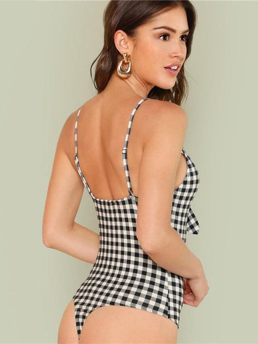 Rosie Deep V Plaid Cut Out Knot Bodysuit