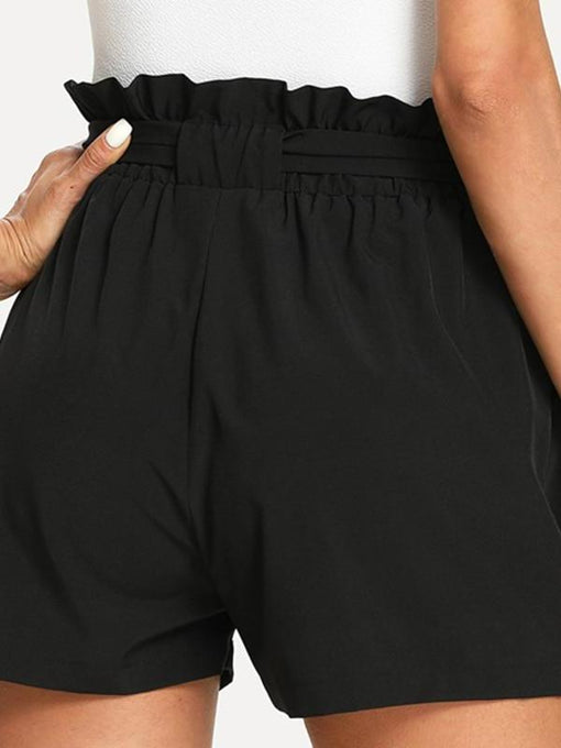 Everly Black Self Belted Ruffle Shorts