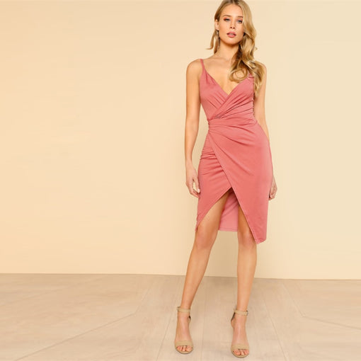 Royalty Pink Low Back Wrap Cami Dress